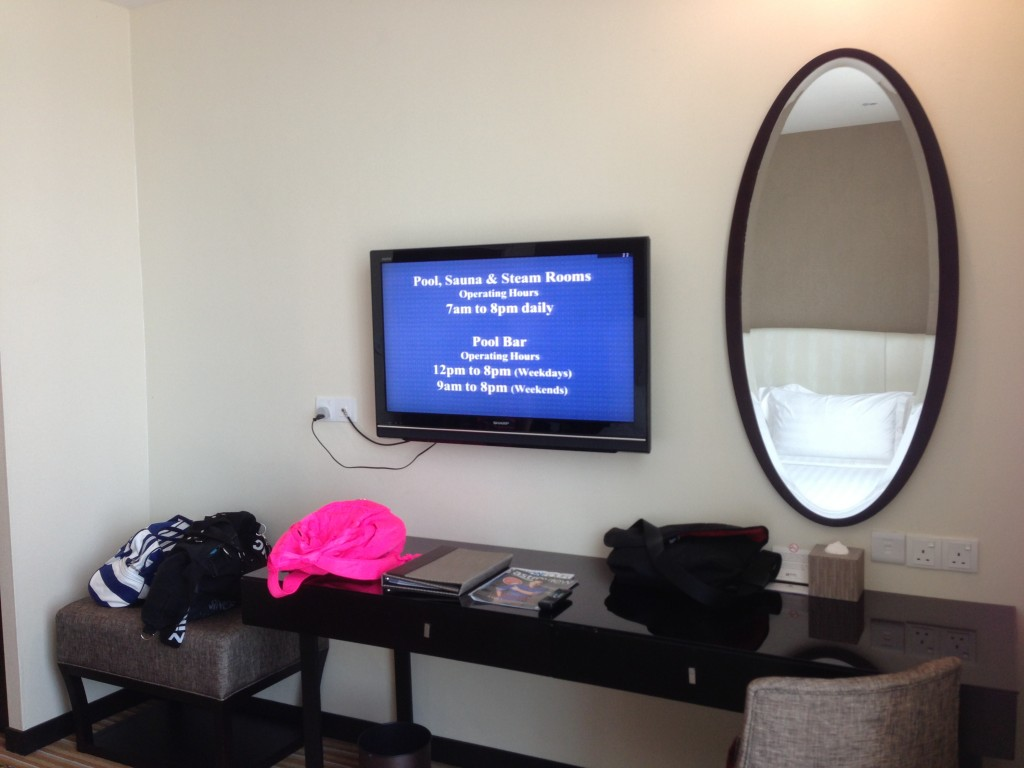 One of the 2 flatscreen televisions in our room. Pardon Jamie's extremely pink bag ;)