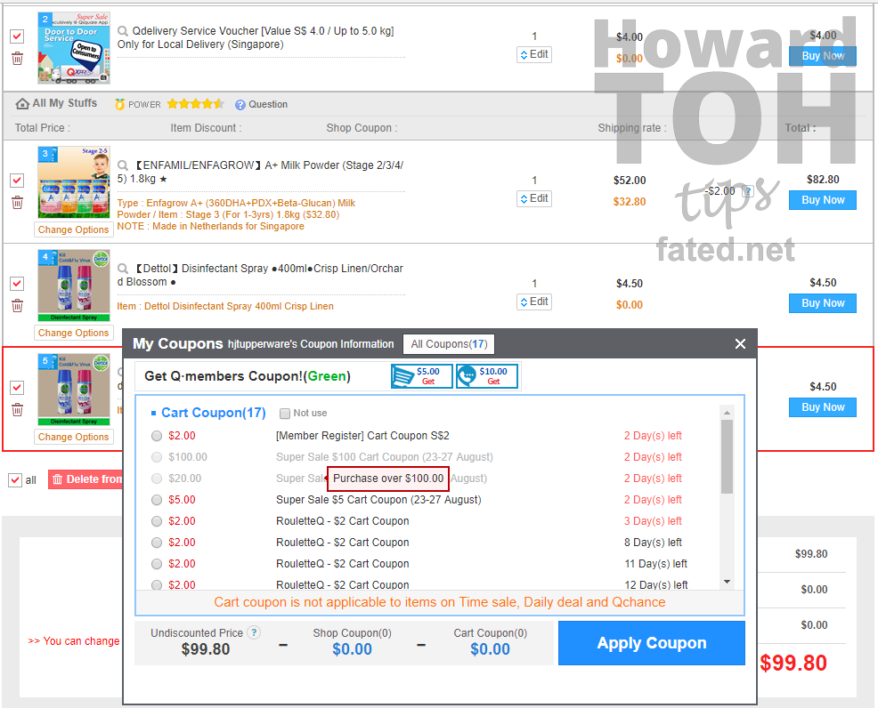 Qoo10 Tip for using cart coupon