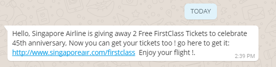singapore air free business class tickets whatsapp scam